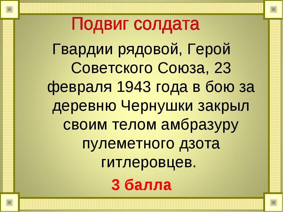 Гвардии рядовой, Герой Советского Союза, 23 февраля 1943 года в бою за деревн...