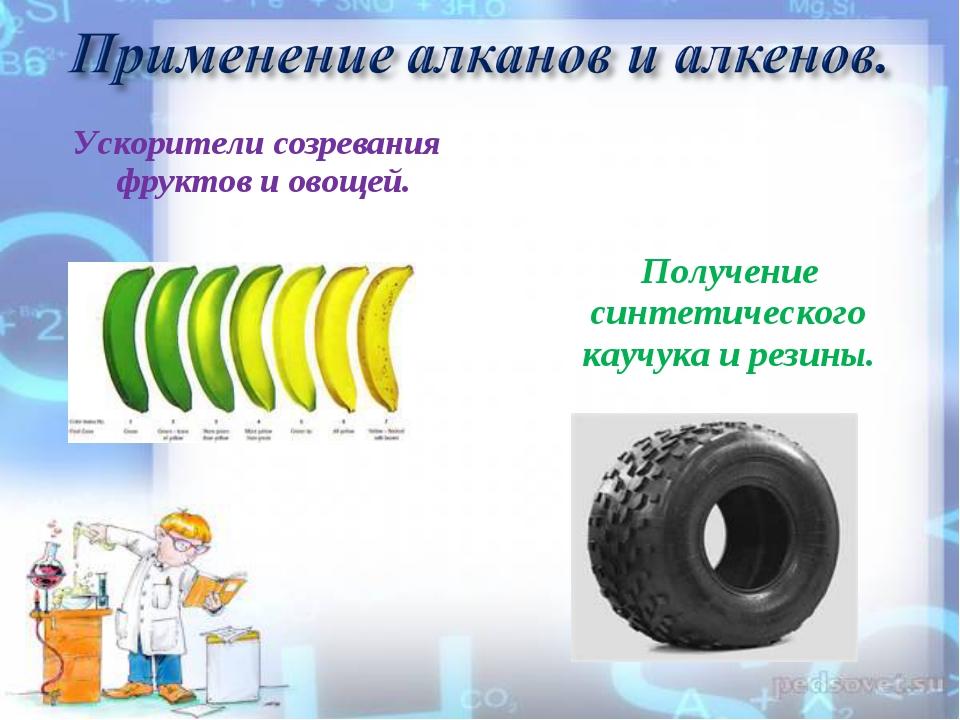Получение синтетического каучука и резины. Ускорители созревания фруктов и о...