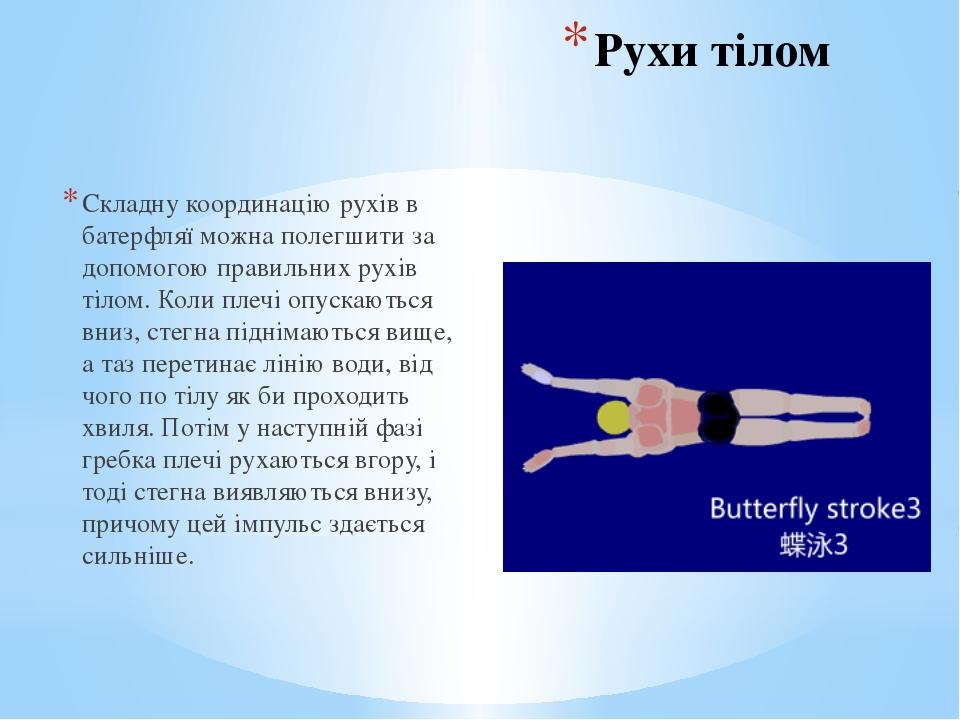 Рухи тілом Складну координацію рухів в батерфляї можна полегшити за допомогою...