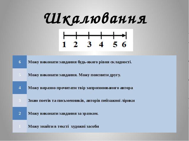 Шкалювання 6 Можу виконати завдання будь-якого рівня складності. 5 Можу викон...