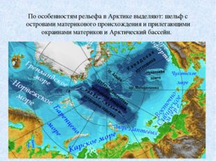 По особенностям рельефа в Арктике выделяют: шельф с островами материкового пр