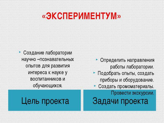 «ЭКСПЕРИМЕНТУМ» Цель проекта Задачи проекта Создание лаборатории научно –позн...