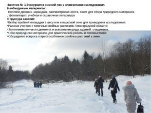 Занятие № 1.Экскурсия в зимний лес с элементами исследования. Необходимые мат