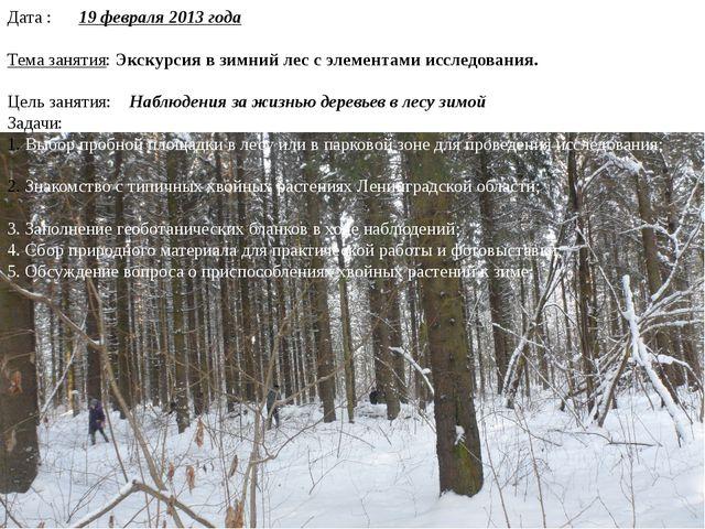 Дата : 19 февраля 2013 года Тема занятия: Экскурсия в зимний лес с элементами...