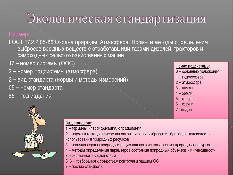 Пример: ГОСТ 17.2.2.05-86 Охрана природы. Атмосфера. Нормы и методы определен...