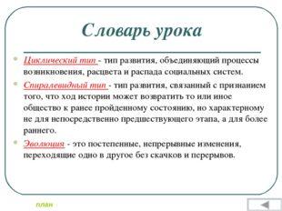 Словарь урока Циклический тип - тип развития, объединяющий процессы возникнов