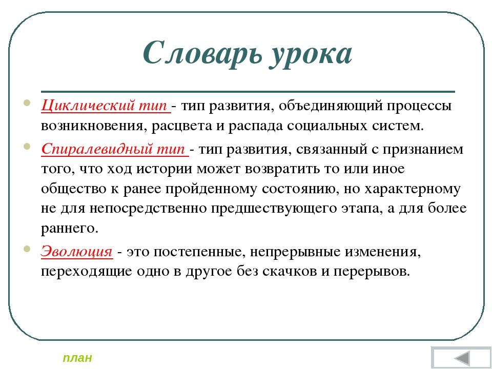 Словарь урока Циклический тип - тип развития, объединяющий процессы возникнов...