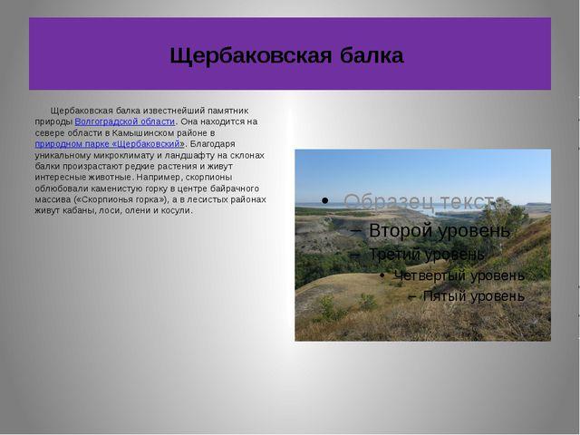 Щербаковская балка Щербаковская балка известнейший памятник природы Волгоград...
