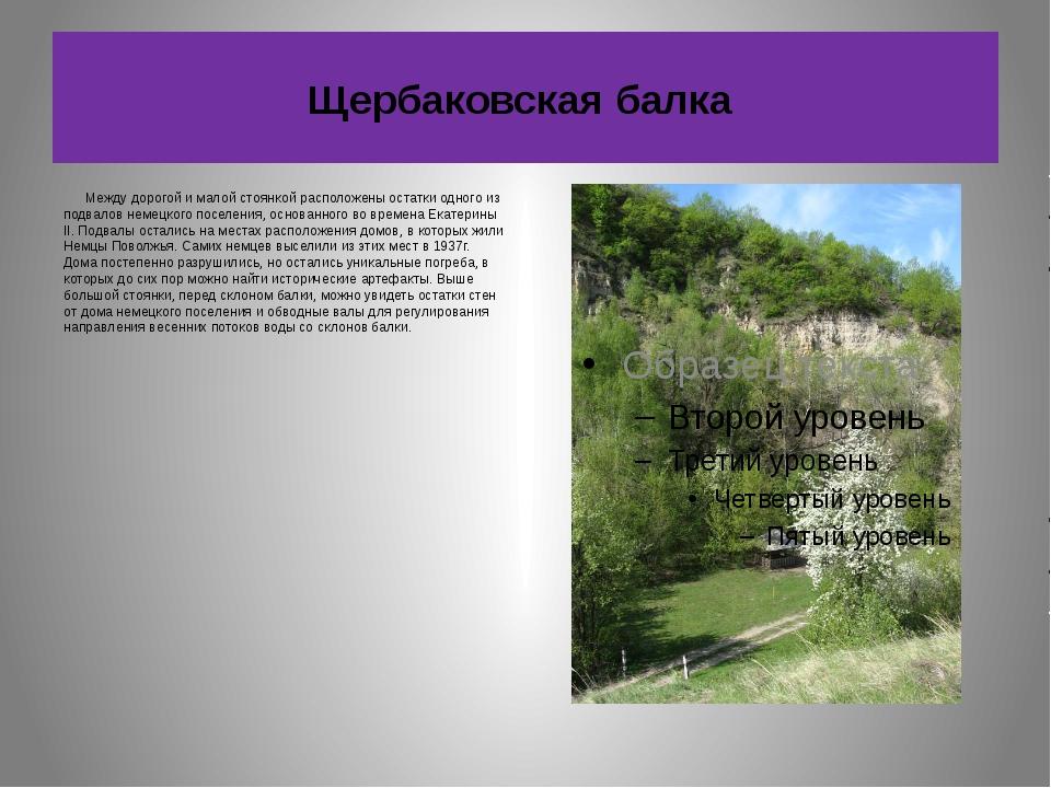 Щербаковская балка Между дорогой и малой стоянкой расположены остатки одного...