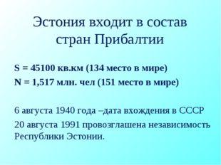 Эстония входит в состав стран Прибалтии S = 45100 кв.км (134 место в мире) N