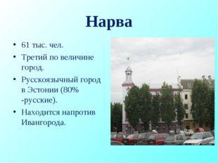 Нарва 61 тыс. чел. Третий по величине город. Русскоязычный город в Эстонии (8