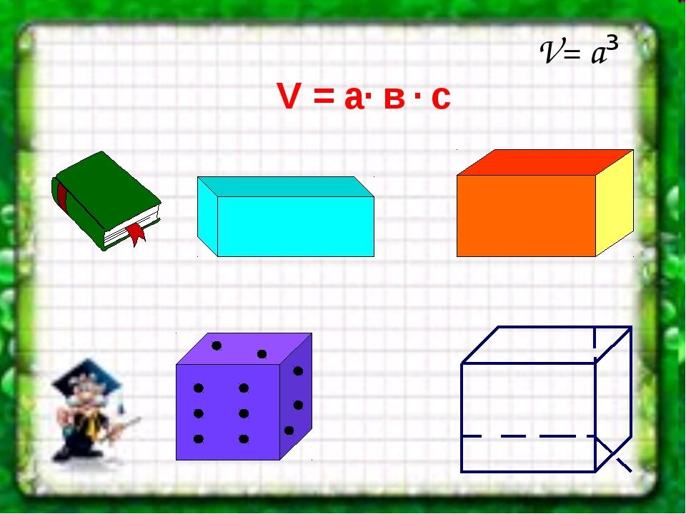 V= а³ V = a· в · c