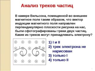 1) I и II 2) трек электрона не нарисован 3) только I 4) только II В камере Ви