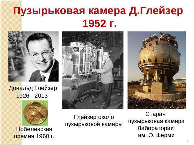 Глейзер около пузырьковой камеры Пузырьковая камера Д.Глейзер 1952 г. Нобелев...