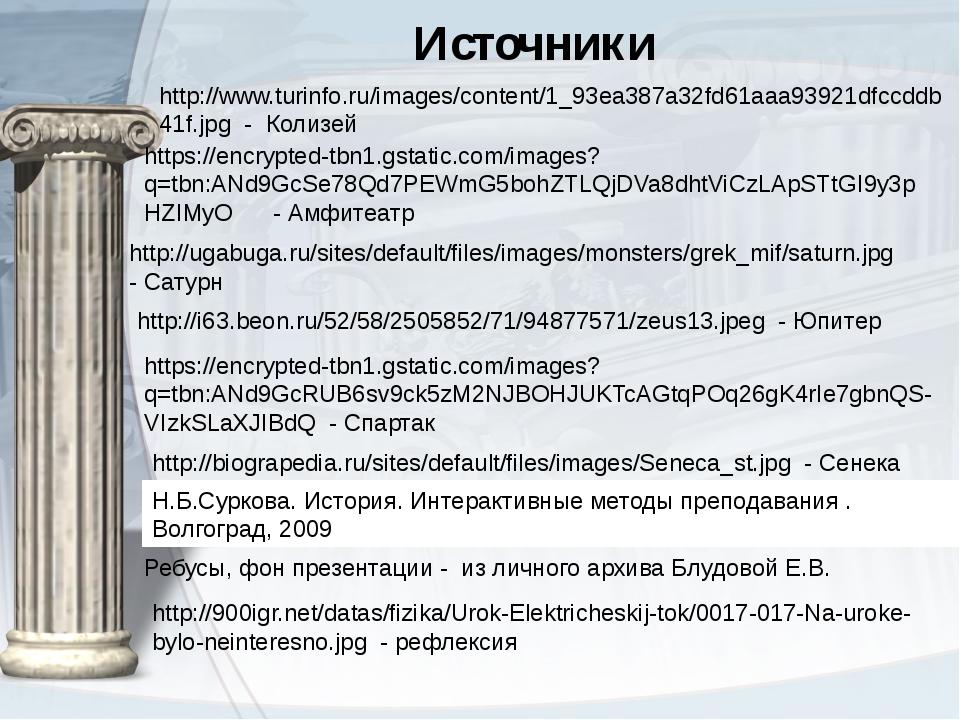 Источники Н.Б.Суркова. История. Интерактивные методы преподавания . Волгогра...