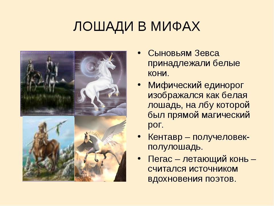 ЛОШАДИ В МИФАХ Сыновьям Зевса принадлежали белые кони. Мифический единорог из...