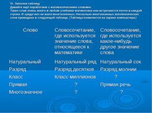 VI. Заполни таблицу Давайте ещё поработаем с математическими словами. Таких с