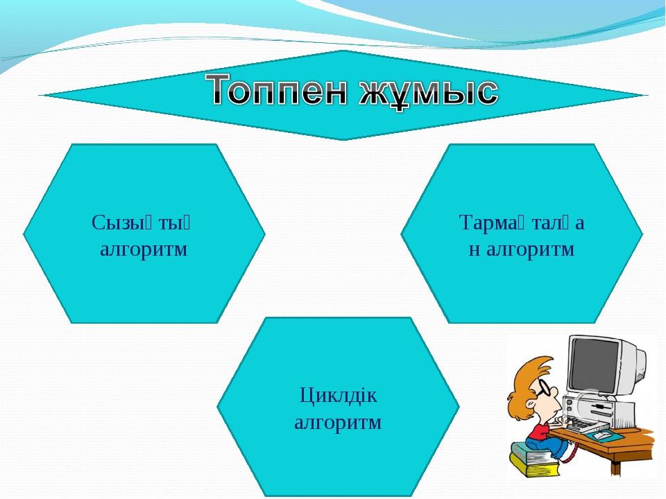 Тармақталған алгоритм Сызықтық алгоритм Циклдік алгоритм