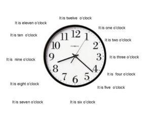 It is seven o'clock It is eight o'clock It is nine o'clock It is ten o'clock