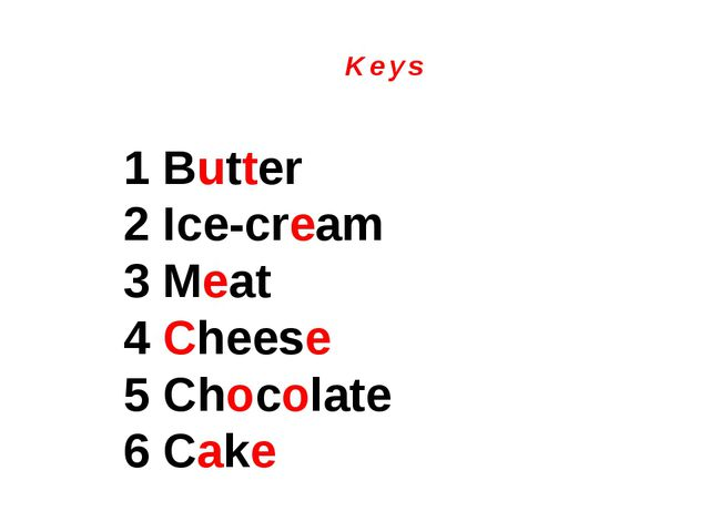 K e y s 1 Butter 2 Ice-cream 3 Meat 4 Cheese 5 Chocolate 6 Cake