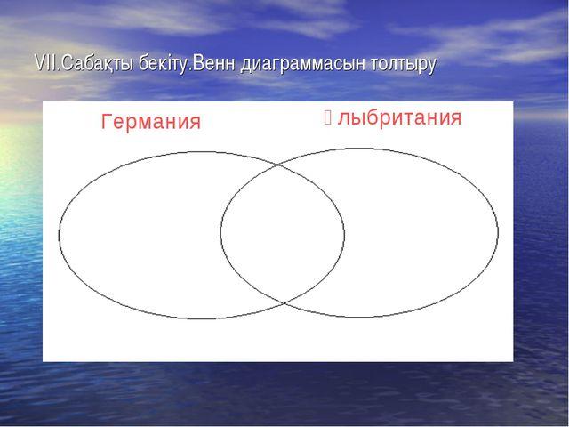 VII.Сабақты бекіту.Венн диаграммасын толтыру Германия Ұлыбритания