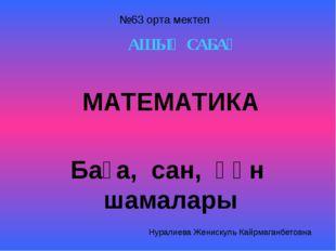 АШЫҚ САБАҚ МАТЕМАТИКА Баға, сан, құн шамалары №63 орта мектеп Нуралиева Женис