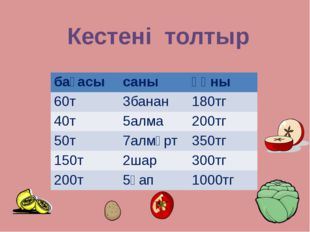 Кестені толтыр бағасы саны құны 60т 3банан 180тг 40т 5алма 200тг 50т 7алмұрт