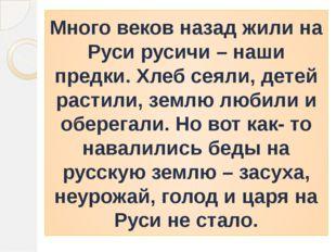Много веков назад жили на Руси русичи – наши предки. Хлеб сеяли, детей растил