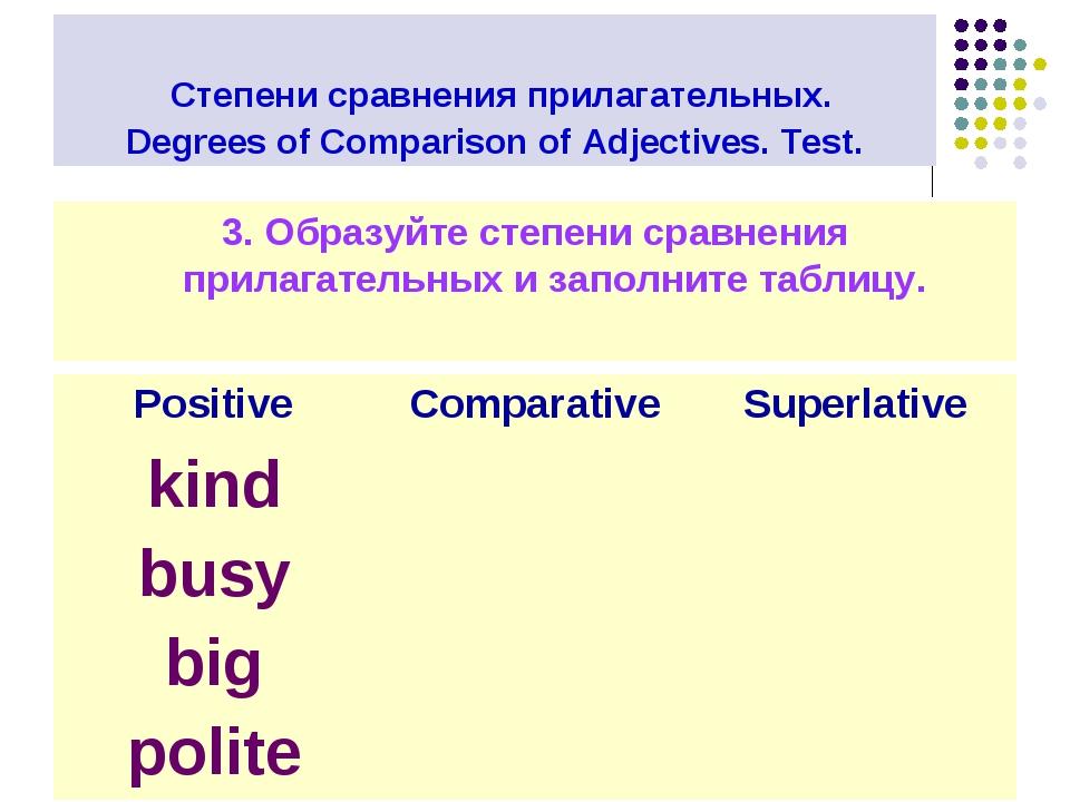 Степени сравнения прилагательных. Degrees of Comparison of Adjectives. Test....