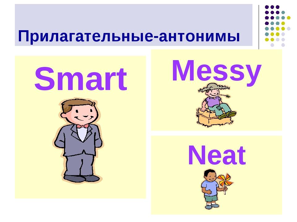 Прилагательные-антонимы Smart Messy Neat
