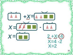 Решите уравнение: + Х = Х = - Х = 2 +Х=4 Х=4 -2 Х=2 16