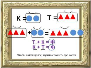К = Т = + = Т + К = Ф К + Т = Ф Чтобы найти целое, нужно сложить две части 6