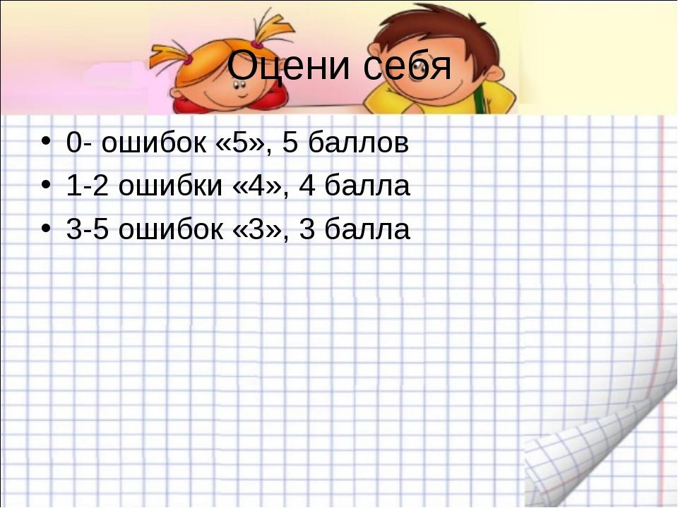 Оцени себя 0- ошибок «5», 5 баллов 1-2 ошибки «4», 4 балла 3-5 ошибок «3», 3...