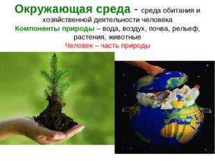 Окружающая среда - среда обитания и хозяйственной деятельности человека Компо