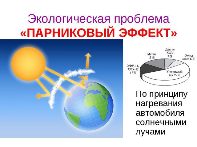 Экологическая проблема «ПАРНИКОВЫЙ ЭФФЕКТ» По принципу нагревания автомобиля...