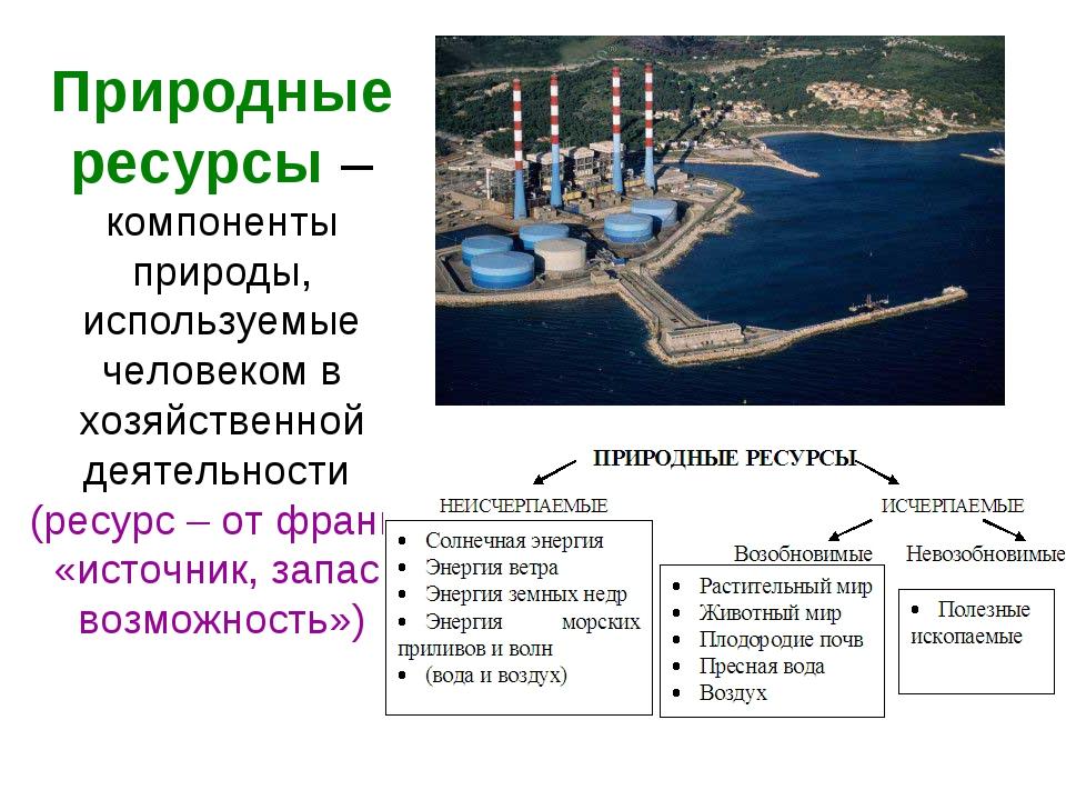 Природные ресурсы – компоненты природы, используемые человеком в хозяйственно...