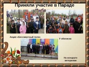Приняли участие в Параде Победы Акция «Бессмертный полк» На концерте ветерана