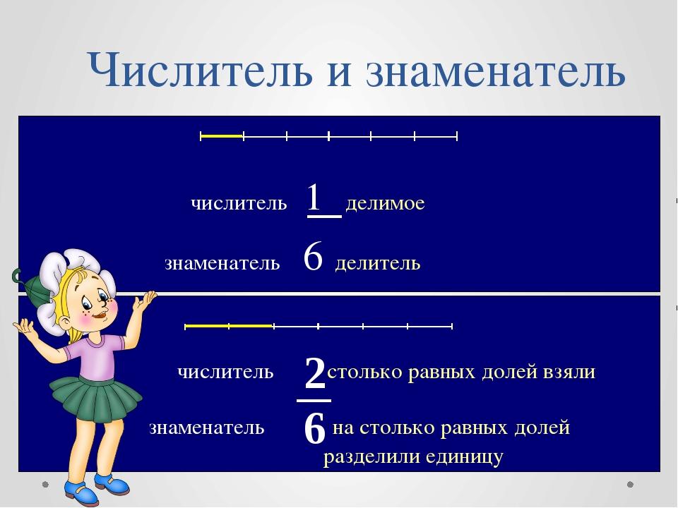 Числитель и знаменатель числитель 1 делимое знаменатель 6 делитель знаменател...