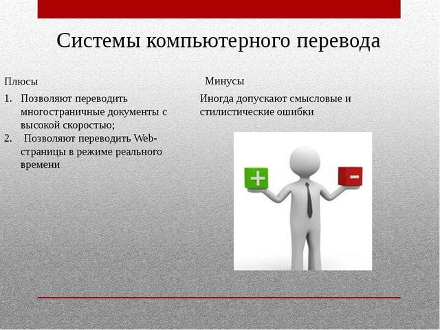 Системы компьютерного перевода Позволяют переводить многостраничные документ...