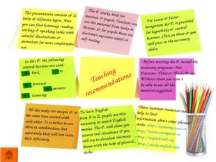 Teaching recommendations - The presentation consists of 11 tasks of different