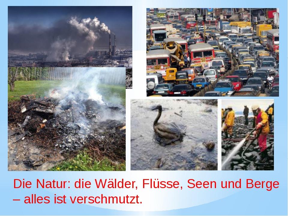 Die Natur: die Wälder, Flüsse, Seen und Berge – alles ist verschmutzt.