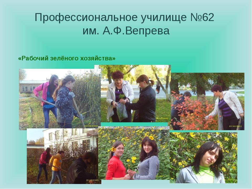 Профессиональное училище №62 им. А.Ф.Вепрева «Рабочий зелёного хозяйства»