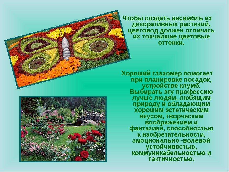 Чтобы создать ансамбль из декоративных растений, цветовод должен отличать их...