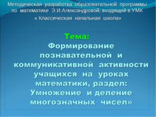 Методическая разработка образовательной программы по математике Э.И.Александр