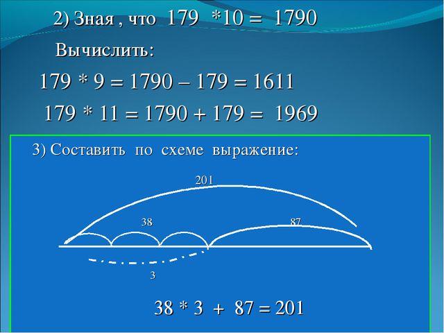 2) Зная , что 179 *10 = 1790 Вычислить: 179 * 9 = 1790 – 179 = 1611 179 * 11...