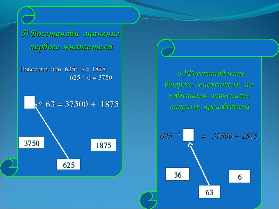 5) Восстанови значение первого множителя Известно, что 625* 3 = 1875 625 * 6...