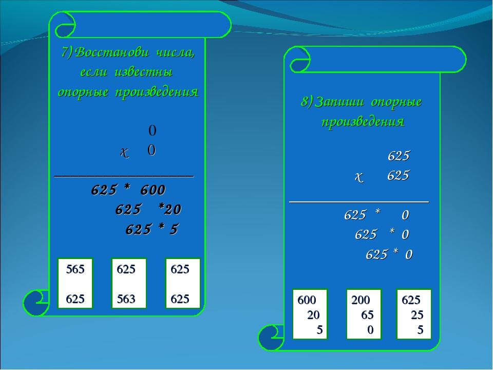 7) Восстанови числа, если известны опорные произведения 0 х 0 _______________...