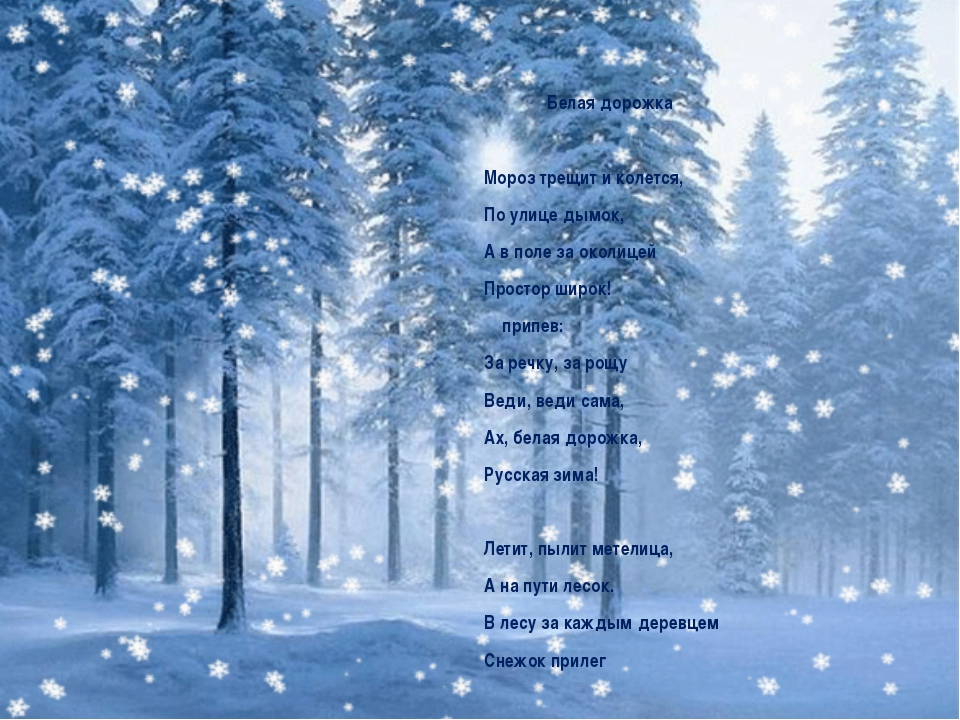 Белая дорожка Мороз трещит и колется, По улице дымок, А в поле за околицей П...