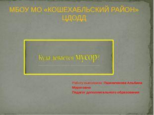 Работу выполнила: Пшизапекова Альбина Муратовна Педагог дополнительного обра