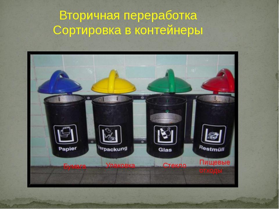 Вторичная переработка Сортировка в контейнеры Бумага Упаковка Стекло Пищевые...